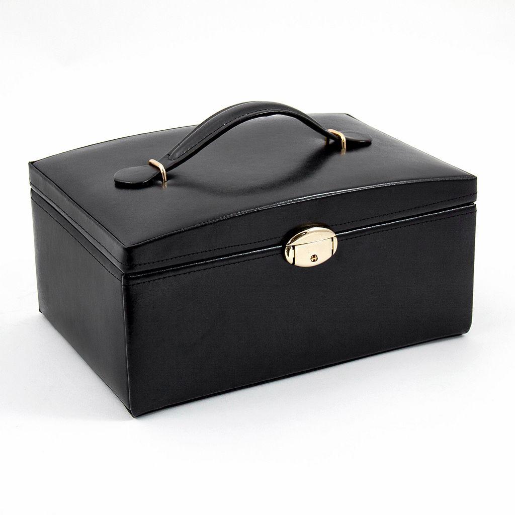 Bey-Berk Black Leather Jewelry Box & Travel Case Set