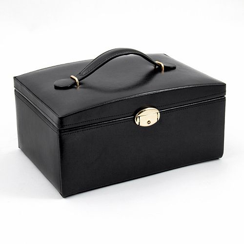 Bey-Berk Black Leather Jewelry Box & Travel Case Set