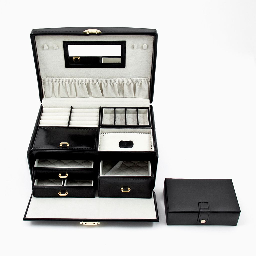 Bey-Berk Black Leather Jewelry Box and Travel Case Set