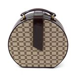 Bey-Berk Brown Leather Checkered Jewelry Box & Valet Tray Set