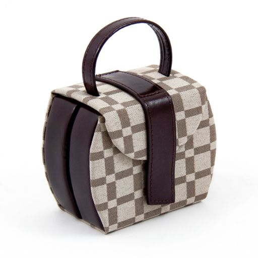 Bey-Berk Brown Leather Checkered Jewelry Case