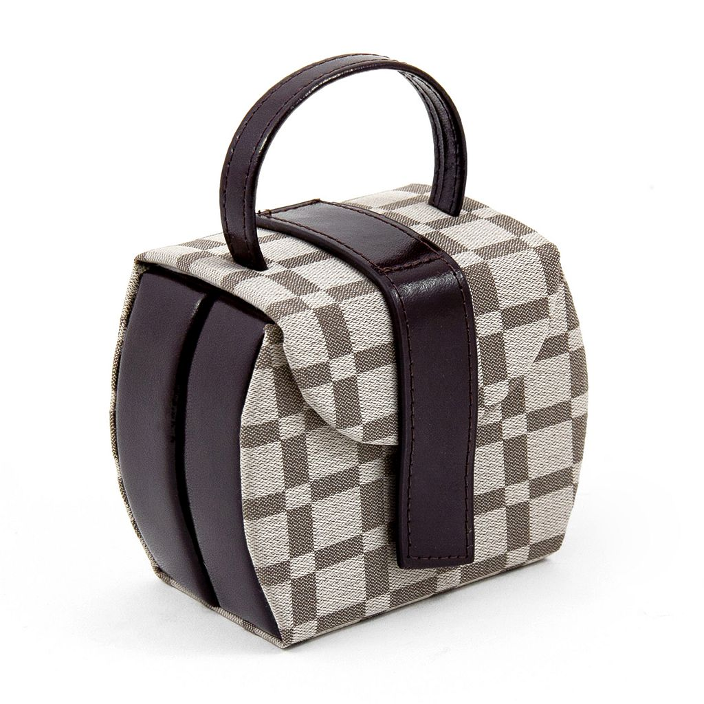 Bey-Berk Brown Leather Checkered Jewelry Box