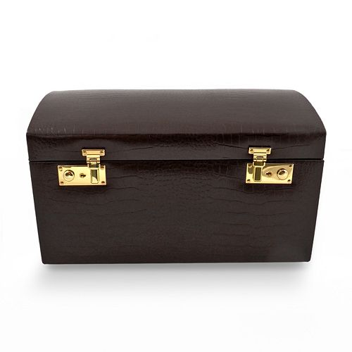 Bey-Berk Crocodile Leather Jewelry Chest & Travel Case Set
