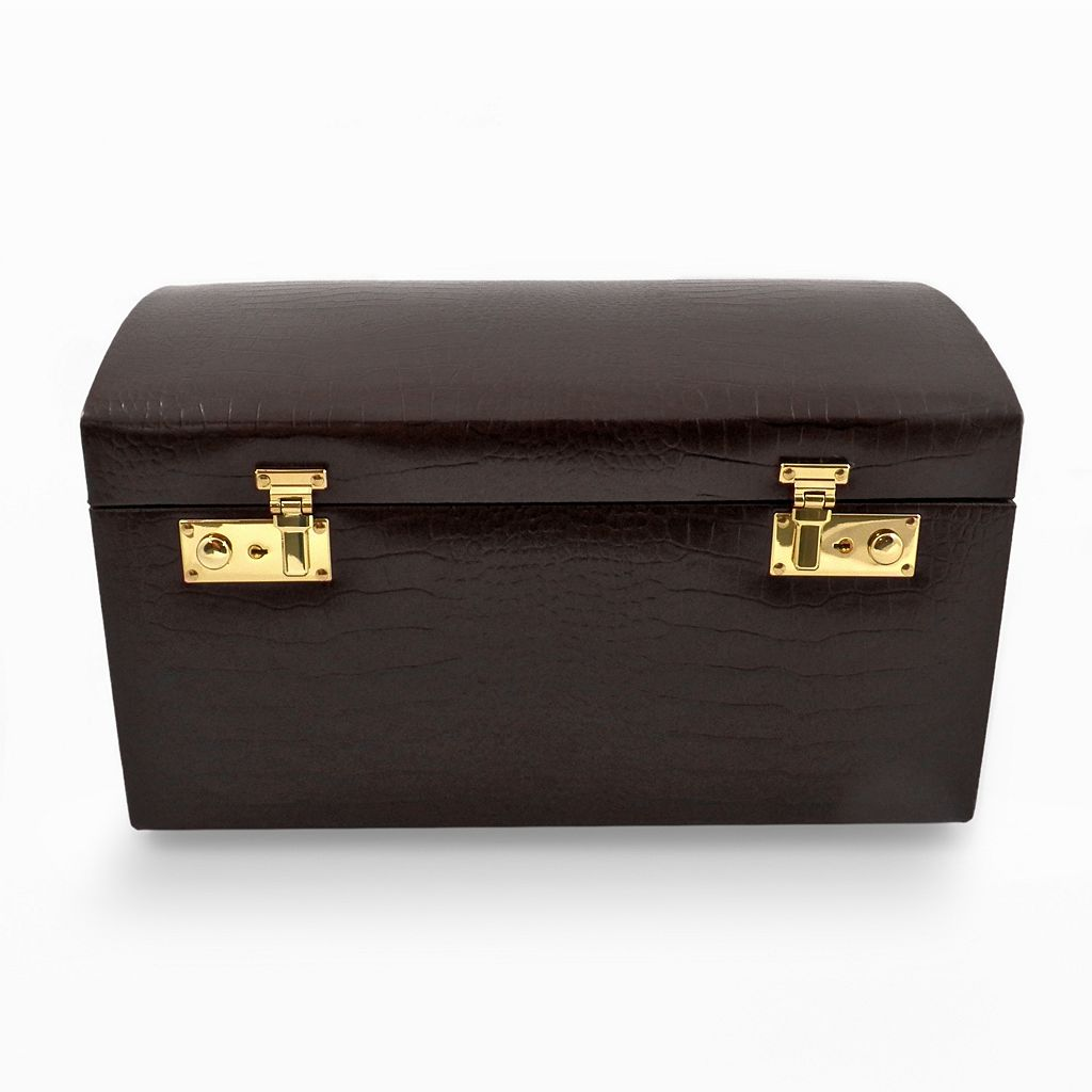 Bey-Berk Crocodile Leather Jewelry Chest and Travel Case Set