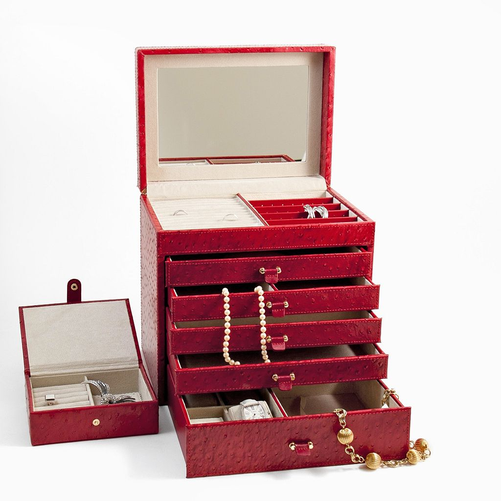 Bey-Berk Leather Jewelry Chest and Travel Case Set