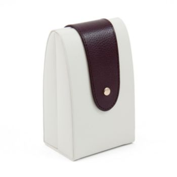 Bey-Berk Ivory and Brown Leather Jewelry Case