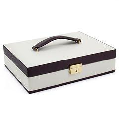 Bey-Berk Ivory & Brown Leather Jewelry Case