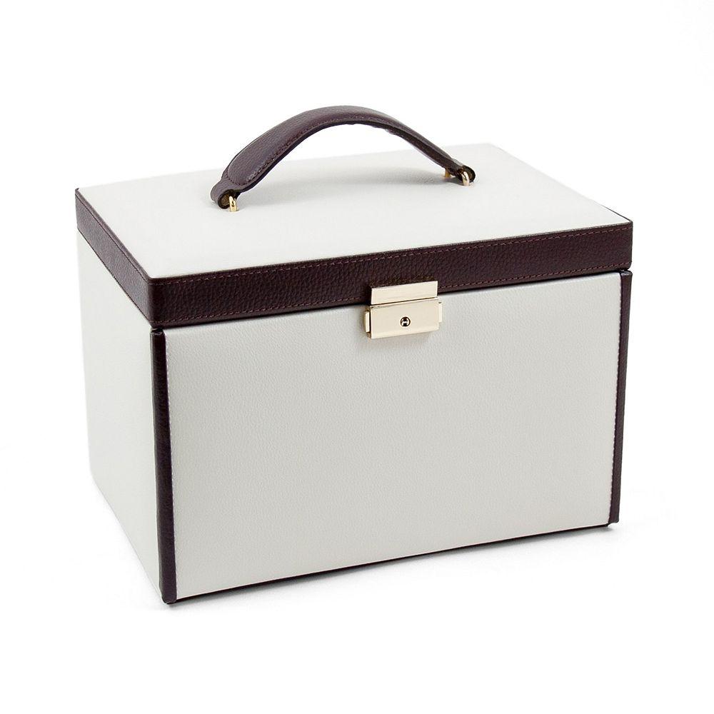 Bey-Berk Ivory & Brown Leather Jewelry Box & Travel Case Set