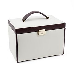 Bey-Berk Ivory & Brown Leather Jewelry Box & Travel Case Set