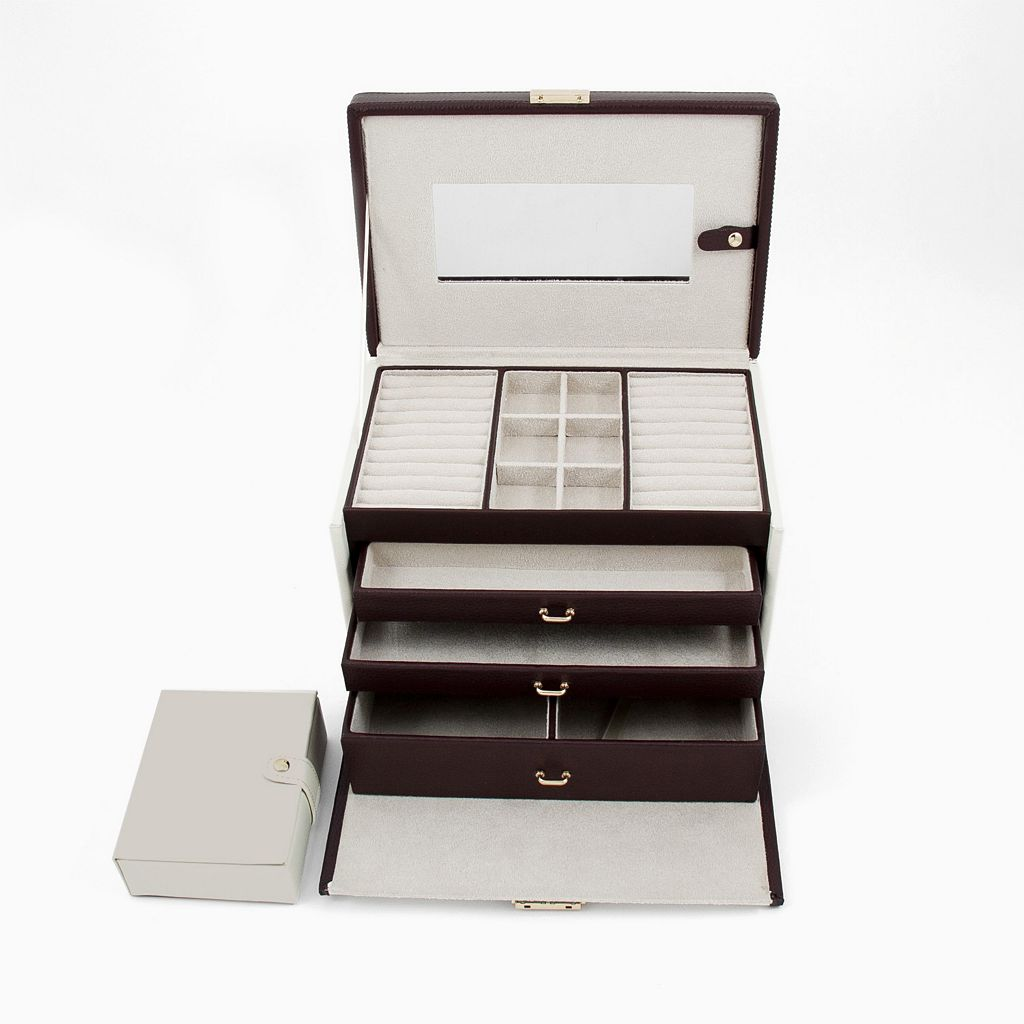 Bey-Berk Ivory and Brown Leather Jewelry Box and Travel Case Set