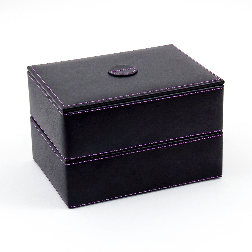 Bey-Berk Leather Stacked Jewelry Box Set