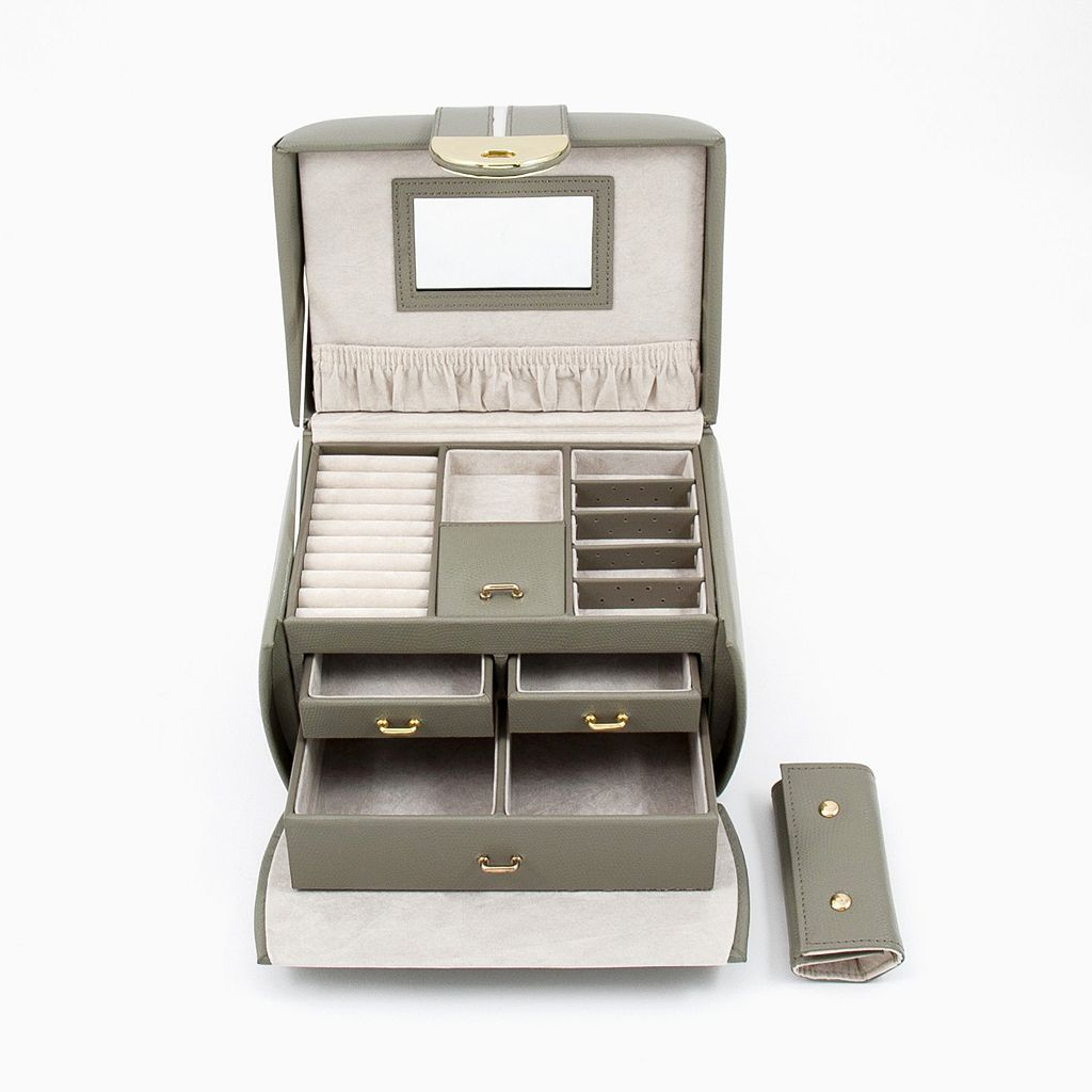 Bey-Berk Olive Leather Jewelry Box and Travel Roll Set