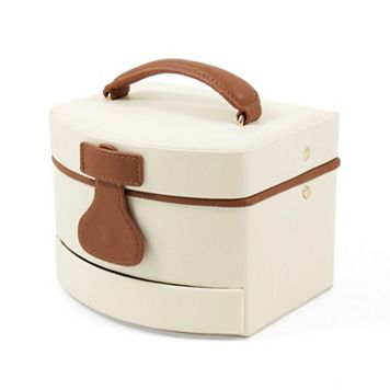 Bey-Berk Ivory Leather Jewelry Box