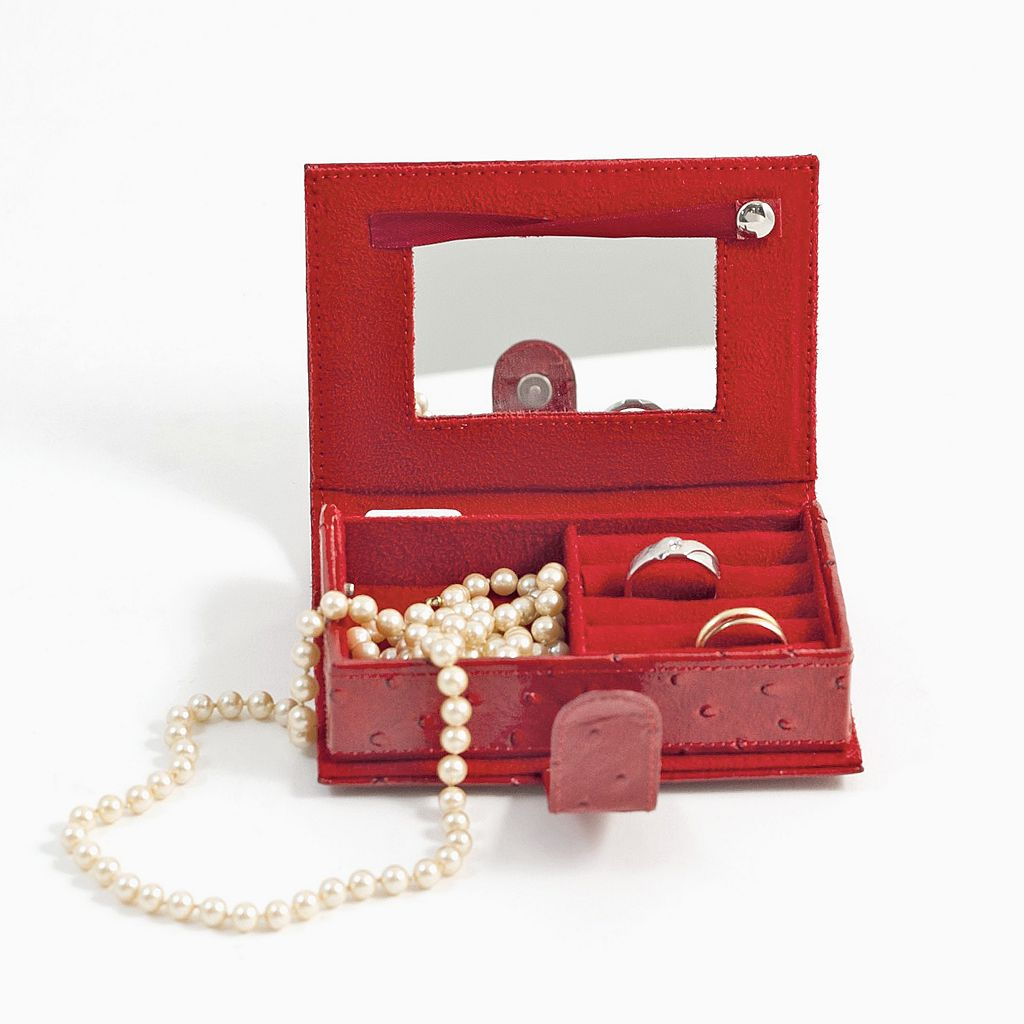 Bey-Berk Red Ostrich Leather Jewelry Travel Case