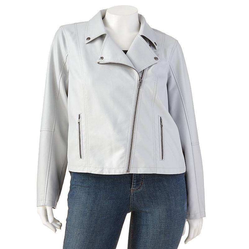 Jennifer Lopez Asymmetrical Faux-Leather Jacket - Women's Plus