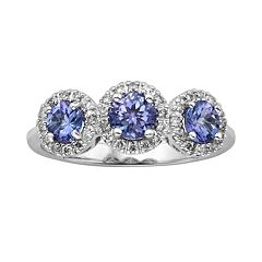 The Regal Collection 14k White Gold Genuine Tanzanite & 1/5-ct. T.W. Diamond 3-Stone Halo Ring