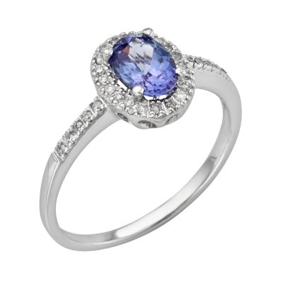 The Regal Collection 14k White Gold Genuine Tanzanite and 1/7-ct. T.W. Diamond Halo Ring