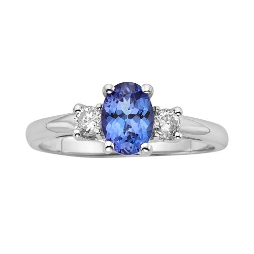The Regal Collection Genuine Tanzanite & 1/5 Carat T.W. Diamond 14k White Gold 3-Stone Ring