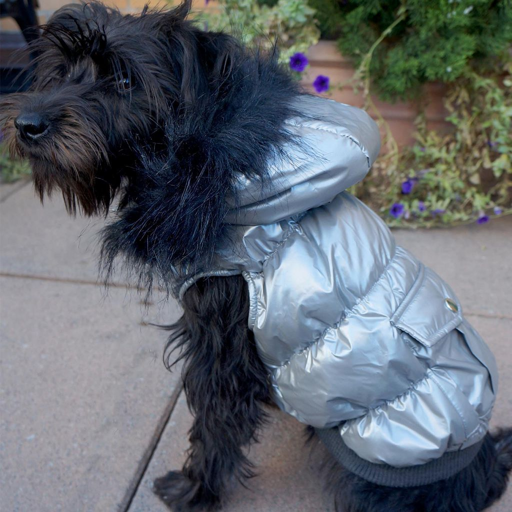 Royal Animals Shiny Puffer & Faux Fur Dog Coat with Pocket