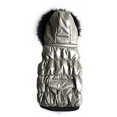 Royal Animals Shiny Puffer & Faux Fur Dog Coat with Pocket