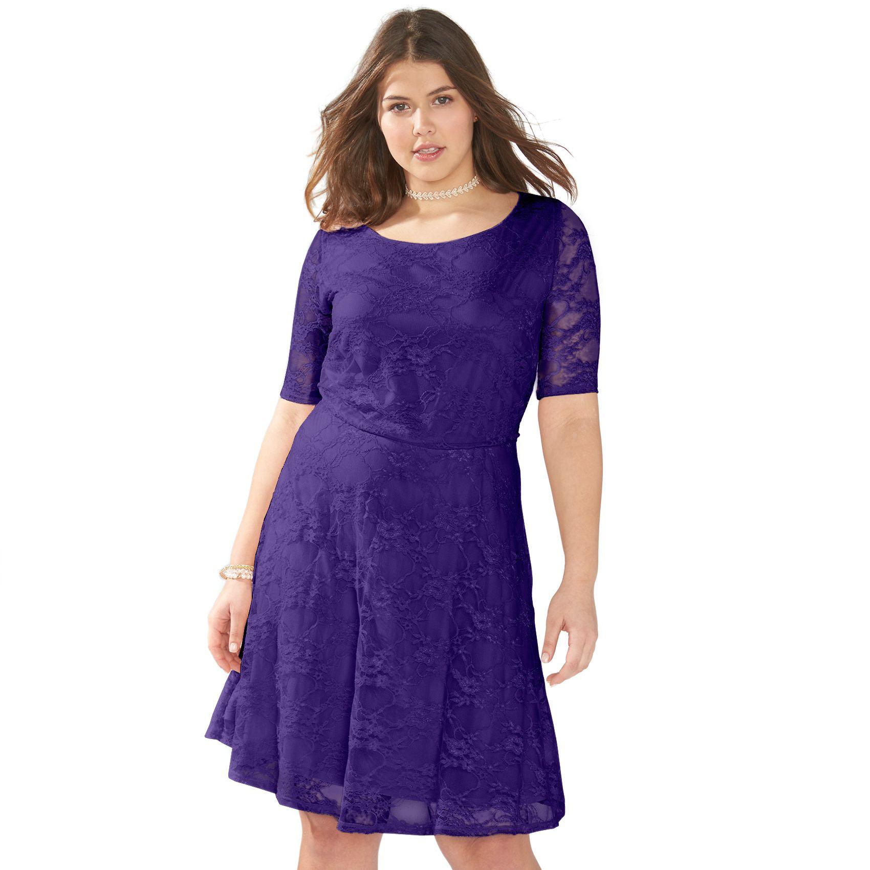 Juniorsu0027 Plus Size Wrapper Lace A Line Dress