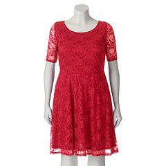 Juniors' Plus Size Wrapper Lace A-Line Dress