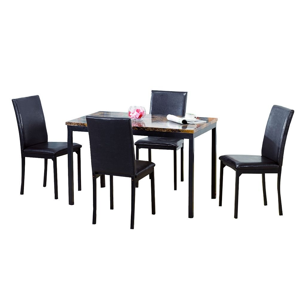 5-pc. Faux-Marble Dining Table and Chairs Set