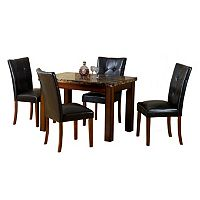 5-pc. Faux-Marble Dining Table & Chairs Set