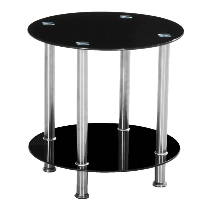 Round End Table, Black