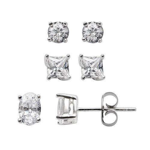Sterling Silver Cubic Zirconia Stud Earring Set