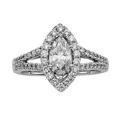 Marquise-Cut IGL Certified Diamond Halo Engagement Ring in 14k White Gold (1 1/2 ctT.W.)