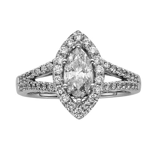 Marquise-Cut IGL Certified Diamond Halo Engagement Ring in 14k White Gold (1 1/2-ct. T.W.)