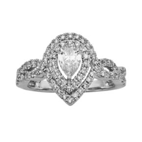 Pear-Cut IGL Certified Diamond Halo Engagement Ring in 14k White Gold (1-ct. T.W.)