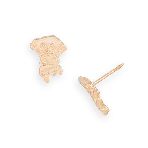14k Gold Dora the Explorer Textured Stud Earrings - Kids