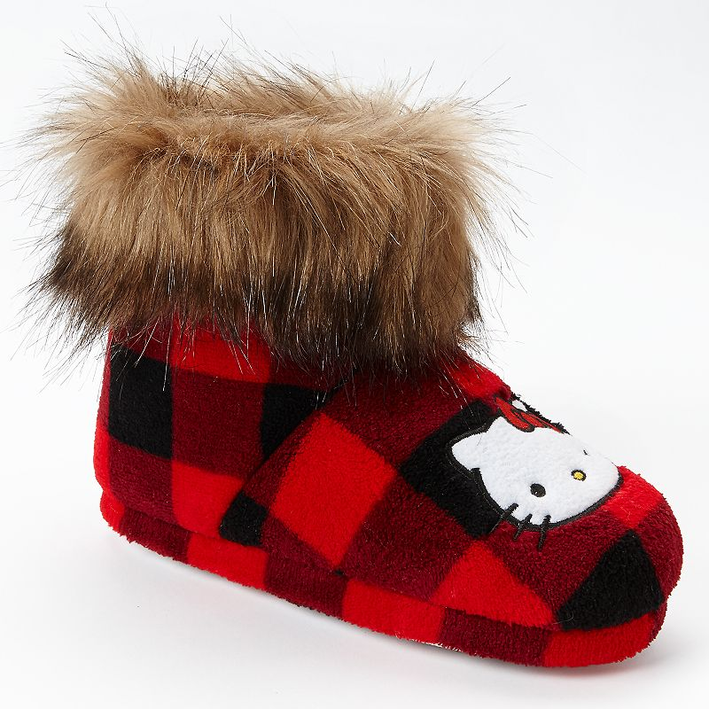 Hello Kitty Faux-Fur Checkered Bootie Slippers - Girls