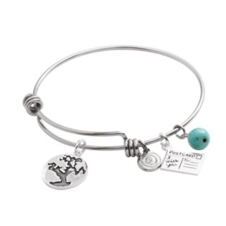 love this life Stainless Steel and Silver-Plated Simulated Turquoise Friends World Charm Bangle Bracelet