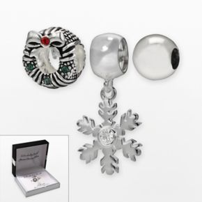 Individuality Beads Sterling Silver Crystal Wreath Bead and Snowflake Charm Set