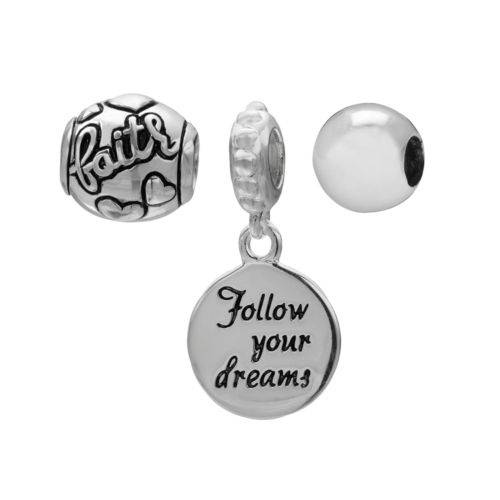 Individuality Beads Sterling Silver Faith and Believe Bead and Follow Your Dreams Charm Set