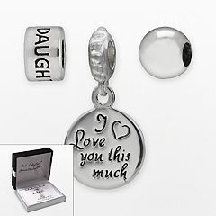 Individuality Beads Sterling Silver 'Daughter' Bead & 'I Love You This Much' Charm Set