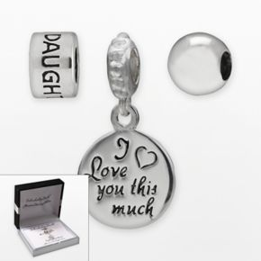 Individuality Beads Sterling Silver Daughter Bead and I Love You This Much Charm Set