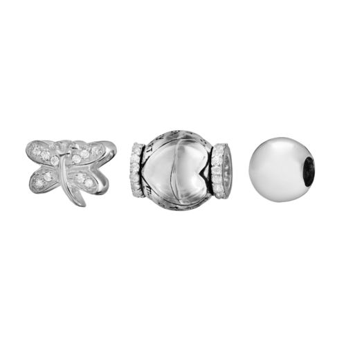 Individuality Beads Sterling Silver Crystal Mother Heart, Butterfly and Spacer Bead Set