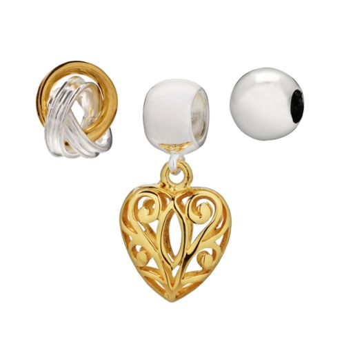 Individuality Beads 14k Gold Over Silver and Sterling Silver Love Knot Bead and Heart Charm Set