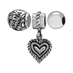Individuality Beads Sterling Silver 'Nana' Scrollwork Bead & Heart Charm Set