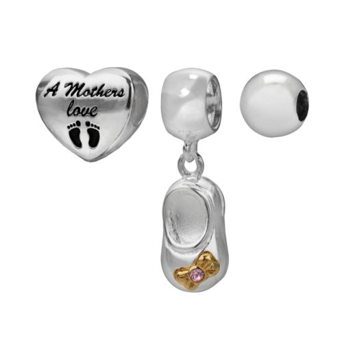 Individuality Beads 14k Gold Over Silver and Sterling Silver Mothers Love Heart Bead and Pink Crystal Bootie Charm Set