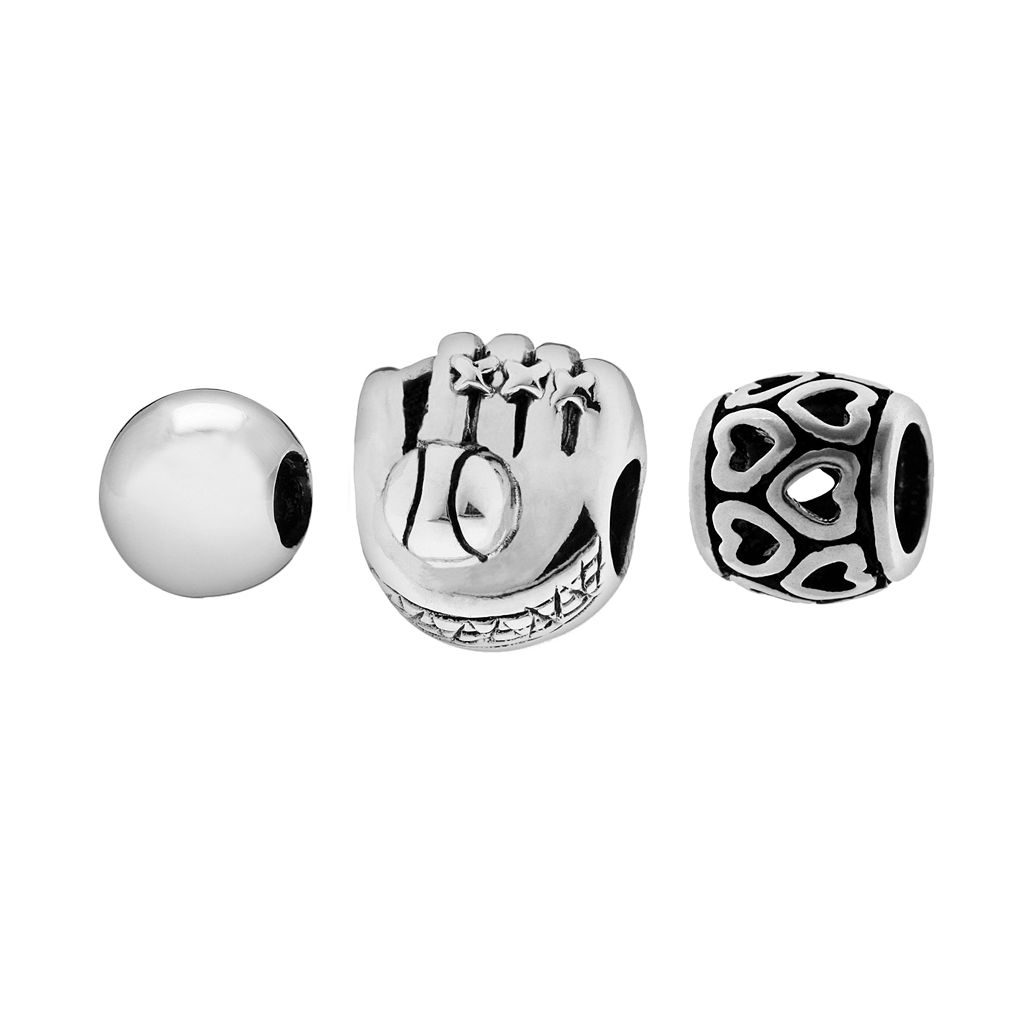 Individuality Beads Sterling Silver Baseball Glove, Heart Openwork & Spacer Bead Set