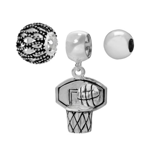 Individuality Beads Sterling Silver Openwork Bead and Basketball Charm Set