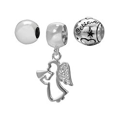 Individuality Beads Sterling Silver 'Believe' Bead & Crystal Angel Charm Set