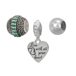 Individuality Beads Sterling Silver Crystal Studded Bead and Love With All Your Heart Charm Set