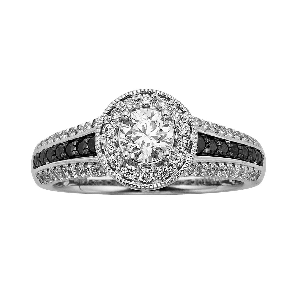 Round-Cut Black & White IGL Certified Diamond Halo Engagement Ring in 14k White Gold (1 ct. T.W.)