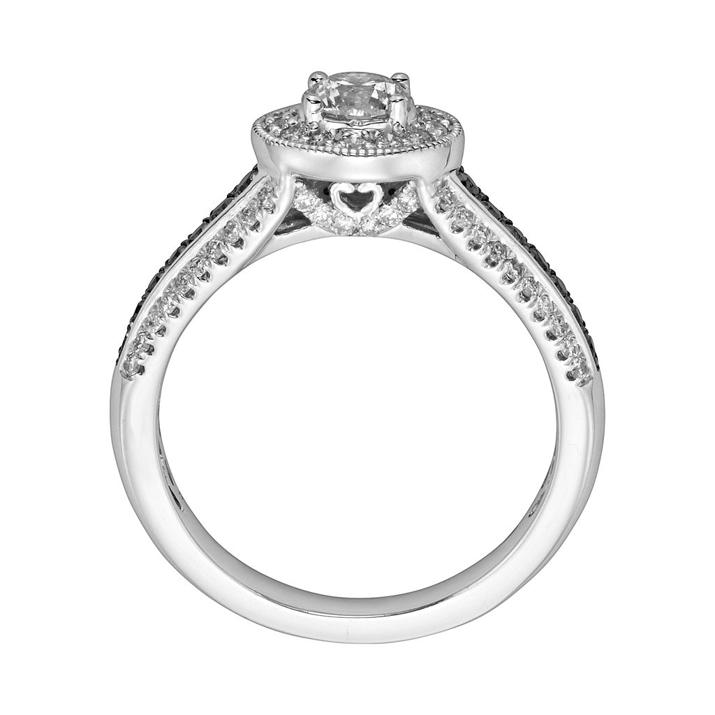 Round-Cut Black and White IGL Certified Diamond Halo Engagement Ring in 14k White Gold (1 ct. T.W.)